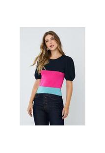 Blusa Feminina Karen Tricolor Marinho E Pink