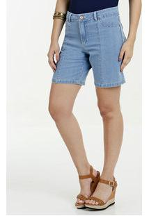 Bermuda Feminina Jeans Cintura Alta Gups