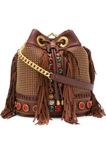 La Carrie Embellished Leather Shoulder Bag - Marrom