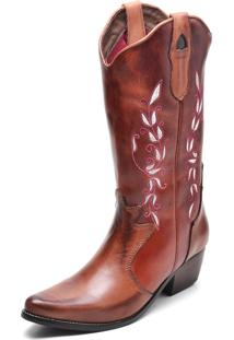 Bota Country Feminina Bico Fino Top Franca Shoes Mel / Conhaque