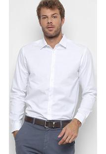 Camisa Foxton Manga Longa Oxford Masculina - Masculino-Branco