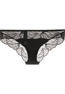 Calvin Klein Underwear Calcinha Com Renda Ondulada - Preto