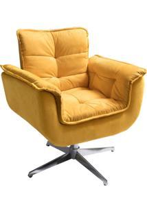 Poltrona Decorativa Opalla I Suede Amarelo