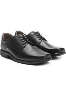Sapato Social Couro Pegada Brogues - Masculino-Preto