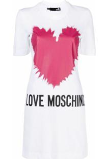Love Moschino Vestido Reto Com Estampa De Logo - Branco