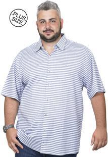 Camisa Plus Size Bigshirts Manga Curta Listra Verti