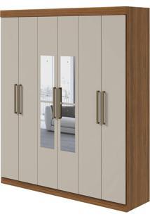 Guarda Roupa Virgo 6 Portas Com Espelho Rovere Naturale/Off White