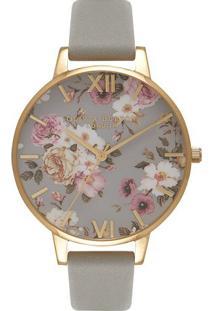 Relógio Olivia Burton Feminino Couro Cinza - Ob16Fs81