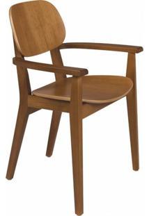 Cadeira De Madeira Com Braços London Tramontina Amêndoa