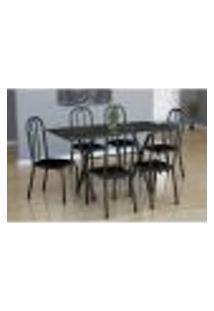Conjunto De Mesa Miame Com 6 Cadeiras Madri Preto Prata E Cinza Liso