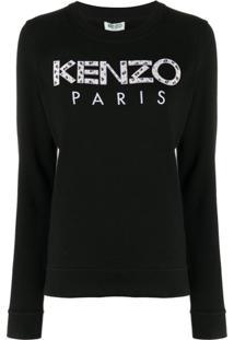 Kenzo Moletom Com Aplicação De Logo - Preto