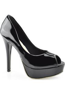 Sapato Peep Toe Meia Pata Salto Alto Invoice 8018502