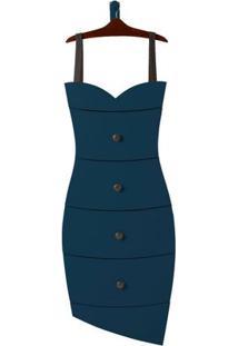 Cômoda Com 4 Gavetas Dress Maxima Cacau/Azul Noite