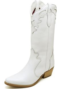 Bota Texana Country Click Calçados Couro Branco Cano Longo Bico Fino
