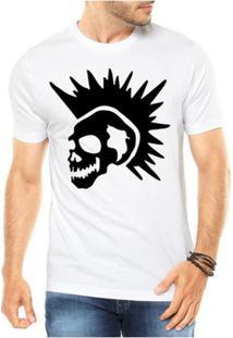 Camiseta Criativa Urbana Caveira Punk - Masculino-Branco
