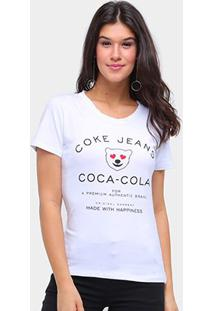 Camiseta Coca Cola Coke Jeans Feminina - Feminino-Branco