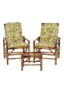 Conjunto Mesa E 2 Cadeiras De Bambu Cancun Para Área Edicula Jardim G30