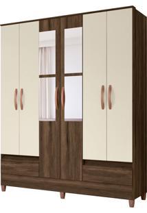 Guarda Roupa Ametista C/ Espelho 6 Portas E 2 Gavetas Externas Cedro/Off White Albatroz