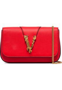 Versace Bolsa Tiracolo Com Aplicação V - Vermelho