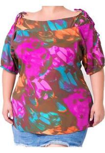 Blusa Estampada Com Amarração Plus Size Feminina - Feminino-Roxo