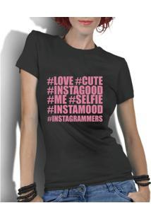 Camiseta Criativa Urbana Hashtag Nerd Geek - Feminino-Preto