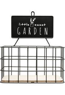 Prateleira Metal Madeira Little Sweet Garden Preto 21X13X24 Cm Urban