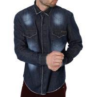 Camisa Jeans Manga Longa Masculina Bivik Preto 99d64e5468808