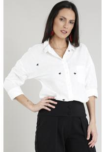 Camisa Feminina Com Bordado De Coqueiro E Bolso Manga Longa Off White