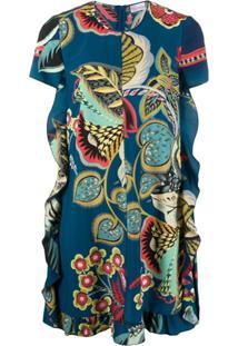Redvalentino Vestido Com Estampa Floral - Azul