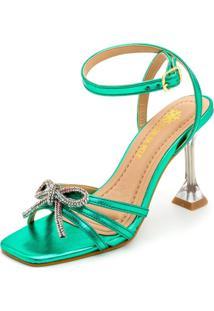 Sandália Feminina Salto Taça Cristal Confort Verde Metalizado - Tricae