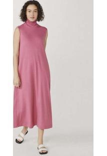 Vestido Básico Midi Em Algodão Supima Rosa