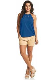 Blusa Rovitex De Alça Feminina - Feminino-Azul