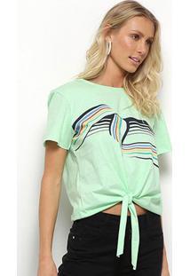 Camiseta Sommer Amarração Feminina - Feminino-Verde Água
