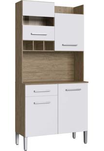 Armario Kit Cozinha 4 Portas E 1 Gaveta Wood/Branco Decibal - Branco - Dafiti