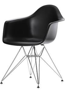 Cadeira Eames Com Braco Base Cromada Preto Fosco - 16532 - Sun House