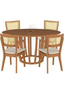 Conjunto Mesa Mona Redonda 150Cm Com 4 Cadeiras Jade Champagne Linho Bege - Gran Belo - Tricae