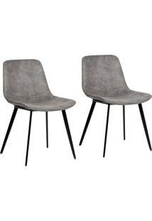 Conjunto Com 2 Cadeiras De Jantar Teini Pernas Em Metal Bege