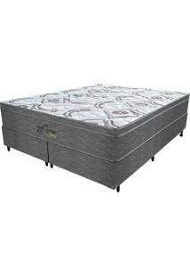 Cama Box Queen Springs Gray - Probel - Branco / Grafite / Prata
