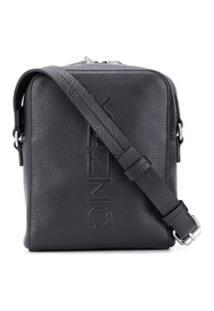 Kenzo Embossed Logo Shoulder Bag - Preto