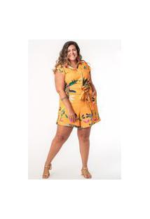 Macaquinho Estampado Plus Size Floricultura Amarelo