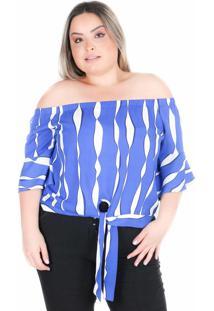 Blusa Saint Yves Ombro A Ombro Predilects Azul