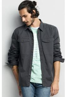 Camisa Masculina Em Tecido De Algodão Com Bolsos