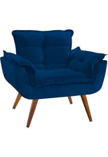 Poltrona Decorativa Opala Deluxe Suede Azul Marinho - Shop Da Mobilia