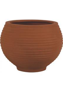 Vaso Para Plantas Redondo Em Polietileno 54 Esfera Lattice 46Cmx37Cm Japi Terracota