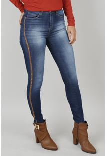 Calça Jeans Feminina Skinny Animal Print Azul Escuro