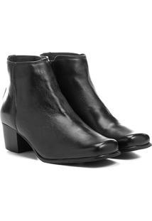 Bota Couro Shoestock Curta Quadradinha Feminina - Feminino-Preto