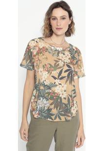 Blusa Floral Com Recortes- Marrom Claro & Verde- Cotcotton Colors Extra