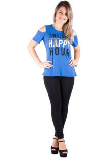 T-Shirt Salto Triplo Ombro Vazado Bic - Feminino-Azul