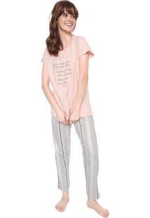 Pijama Pzama Choices Rosa/Cinza
