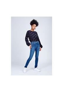 Calça Jeans Skinny Super Power Azul Escuro Gang Feminina